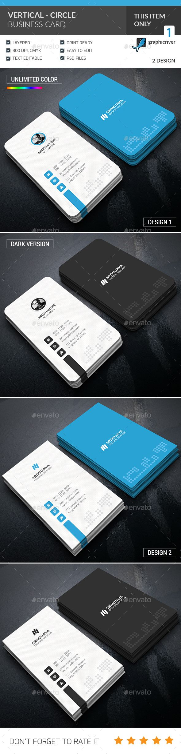 Vertical Circle Business Card Template PSD. Download here: graphicriver.net/… – Business Card Templates