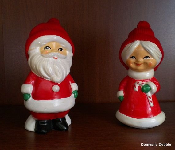 Vintage Santa Amp Mrs Claus Japanware Ceramic Figurines 50s