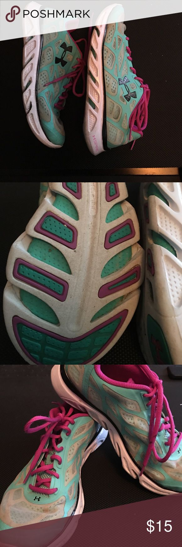 Women's Under Amour running shoes Lightly used Womens Under Armour running shoes. Mint blue with fuchsia trim and laces. Lightest shoes ever! Under Armour Shoes Sneakers