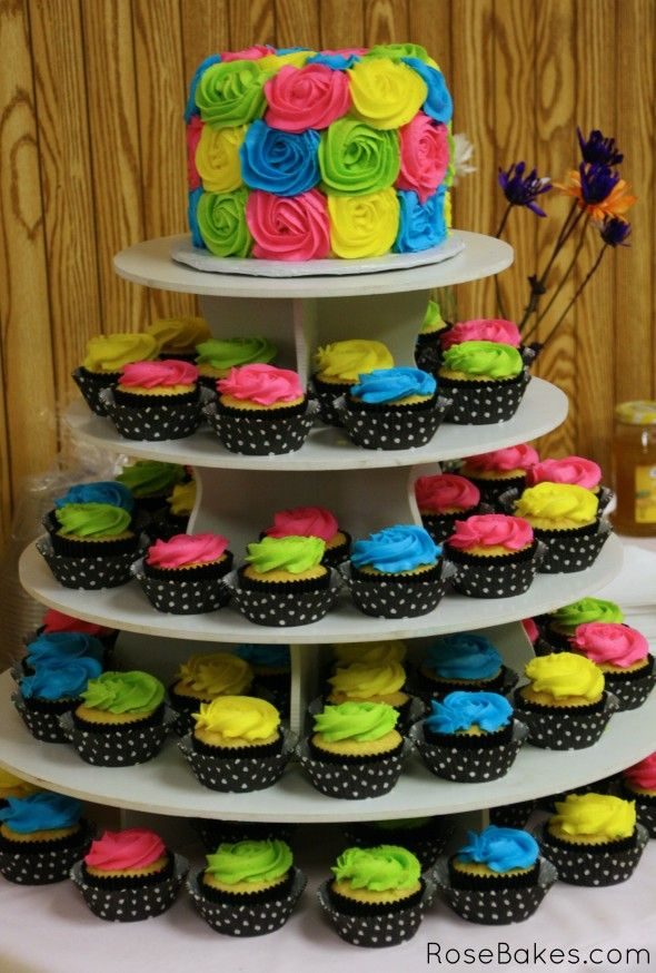 Baby Shower Cupcake Tower | Turquoise & Lime Green Baby Shower Cake and Cupcake Tower