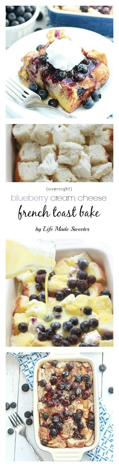 Overnight Blueberry Cream Cheese French Toast Bake - Super easy & delicious baked French Toast bursting with blueberries,cream cheese, brown sugar streusel and the BEST blueberry sauce. Make it the night before and pop it in the oven in the morning. Perfect for Mother's Day or any special breakfast, brunch or even dinner.