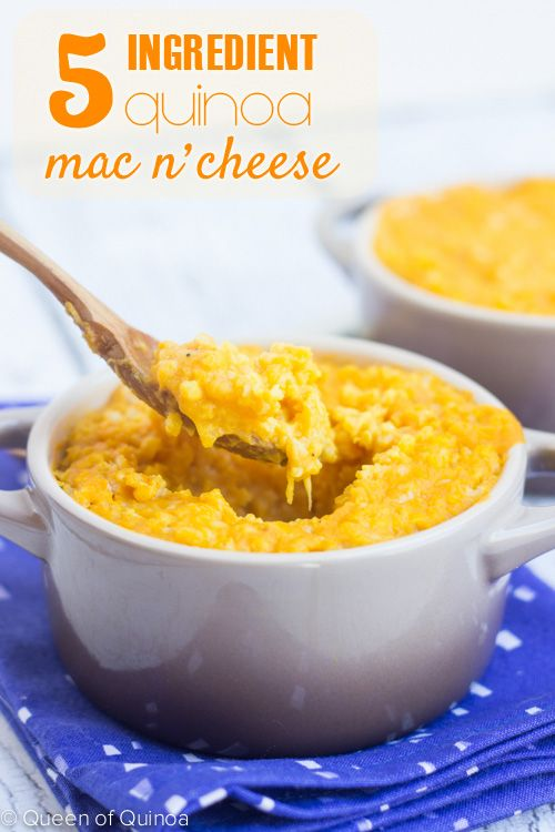 5-ingredient Quinoa Mac and Cheese....with a super healthy secret ingredient. Click to find out!
