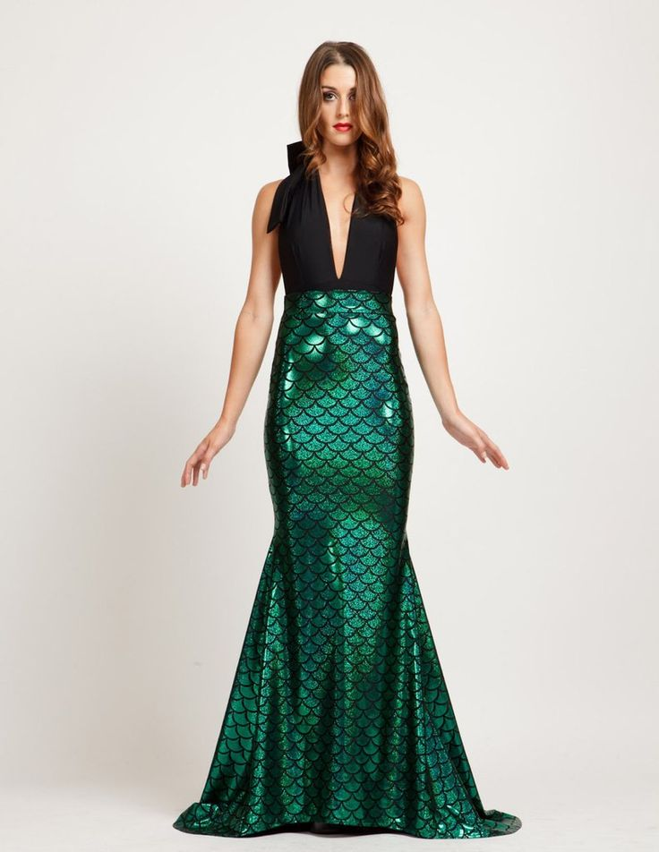 MSRP: $139.00 GLAM: $ 42.00 SAVE: 70% Thinking about heading out as a mermaid for Halloween? How sexy and perfect is this maxi dress with shiny holographic scaled treatment on the skirt? And, it's not