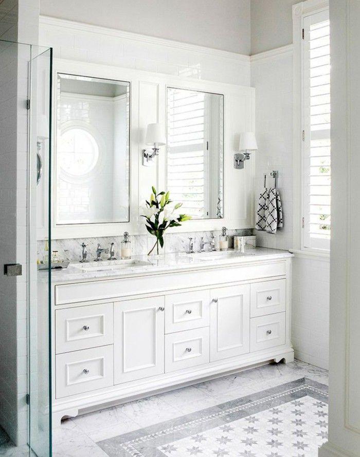 Bathroom Ideas White Furniture Plants Bright Tile Wall Lights Window