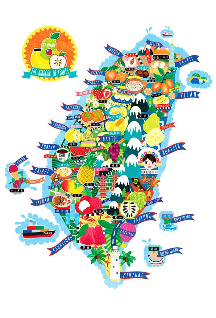 Best Taiwan Map Postcards Images On Pinterest Illustrated - Taiwan map