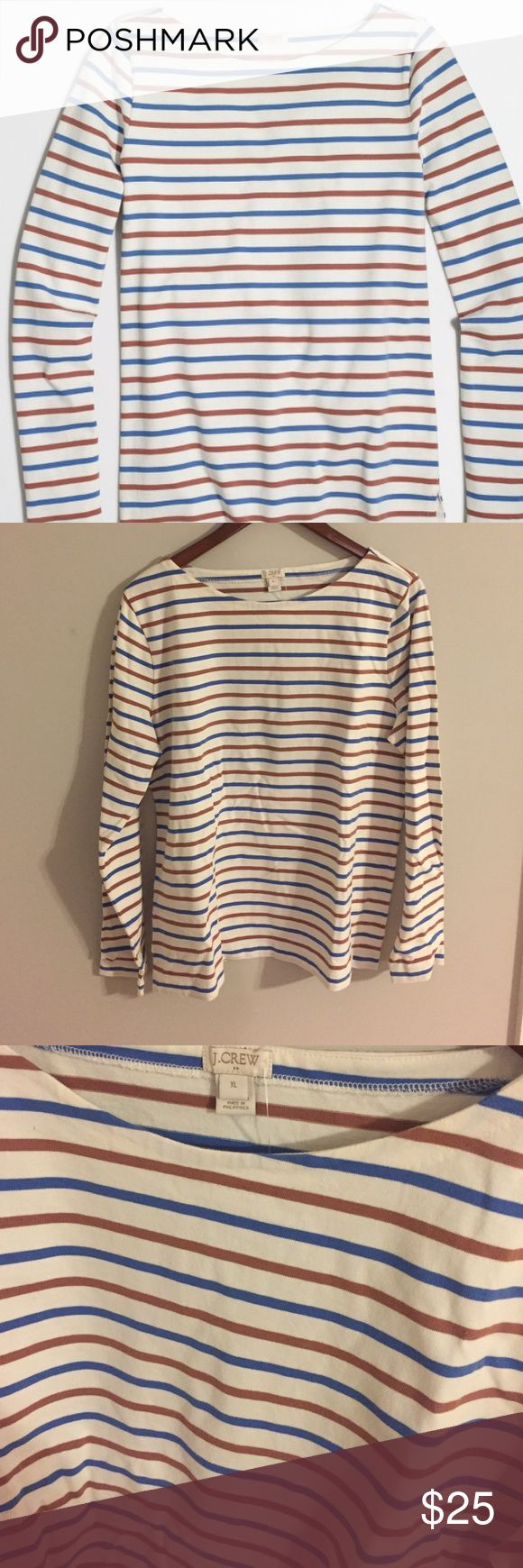 J. Crew Striped Long Sleeve Shirt Color: Hydrangea Wood.                                                   Cotton. Slightly loose fit. Long sleeves. Machine wash.                                                                     J. Crew Factory💖#53A J. Crew Tops