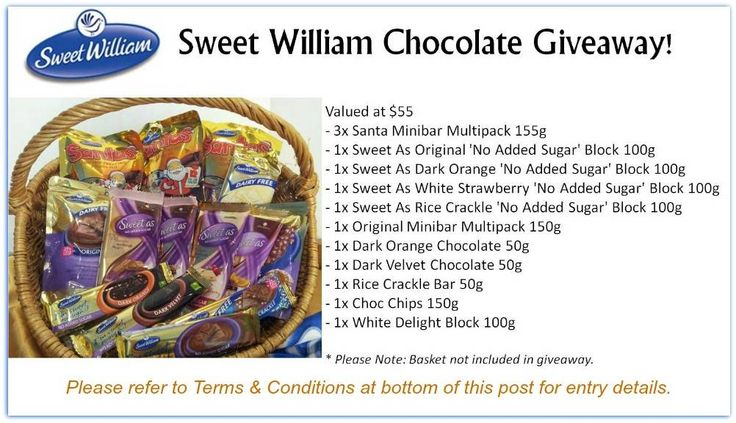 Sweet William Chocolate Giveaway  www.allergysave.com