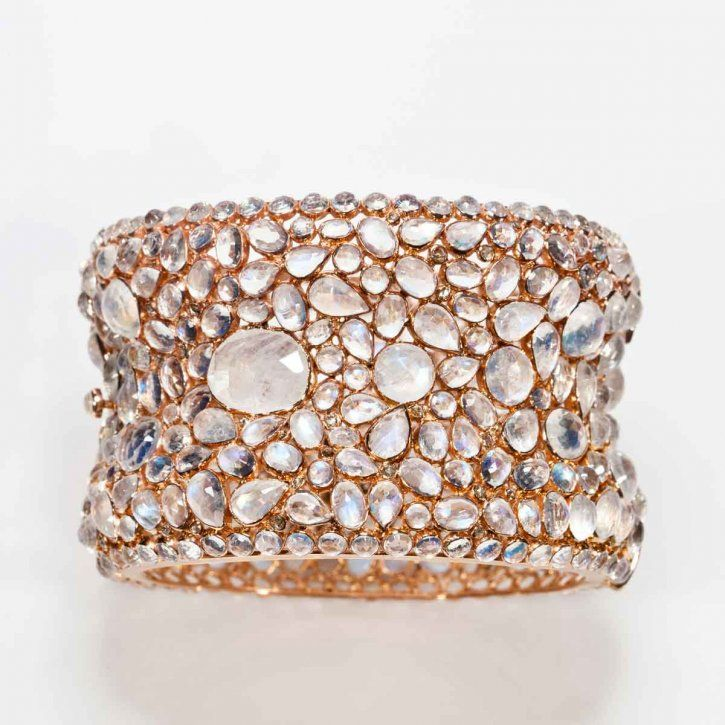 Moonstone pink cuff bangle with diamonds by Rina Limor
