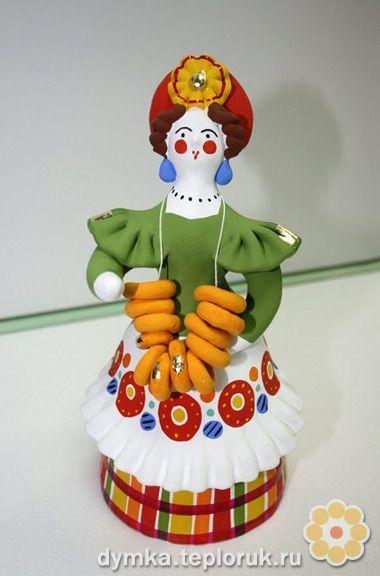 """Дымковская игрушка """"Барыня с баранками"""""""
