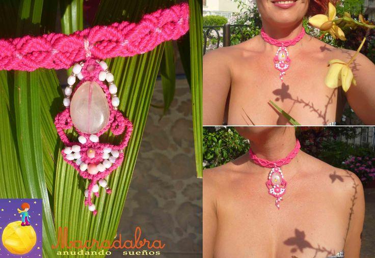 Collar #macramé #fucsia y rosa