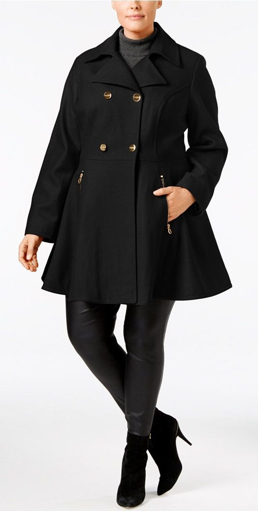 I have this coat, love it!  Plus Size Flared Peacoat