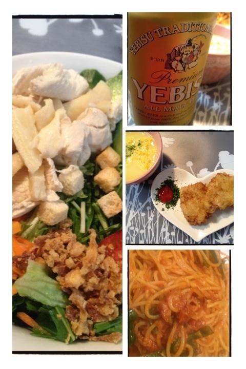 夕ご飯:蒸し鶏のサラダ(タイムと一緒に蒸した鶏胸肉、レタス、水菜、ニンジン、キュウリ、ミニトマト、フライドオニオン)、一口トンカツ、ナポリタン、そしてエビスビール!!(๑´ω`๑)♡