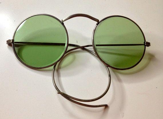 04d0443d1057 Vintage American Optical Eyeglasses Round Wire Rim - Green Tinted Lenses -  Antique 1930 s Windsor Style Glasses - John Lennon