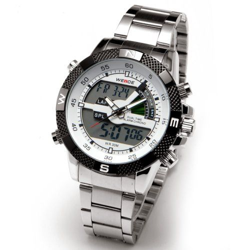 Dual Digital LED Armbanduhr Herren Uhr Quarz Uhren Analog Datum Wasserdicht Sportuhr Alarm Stoppuhr Wecker Edelststahl Armband weiß schwarz Geschenk Etui - http://herrentaschenkaufen.de/surepromise/dual-digital-led-armbanduhr-herren-uhr-quarz-etui