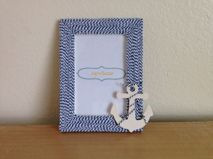 4x6 Nautical Anchor Picture Frame in Navy and White Twine by Jojosbazaar on Etsy https://www.etsy.com/listing/175783968/4x6-nautical-anchor-picture-frame-in