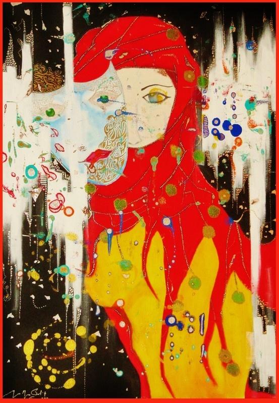 The Mask - Hesham Malik. (Mixed Media On Canvas)