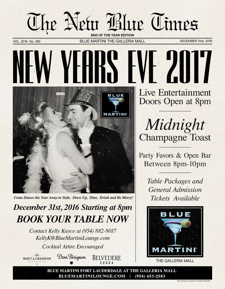 """New Year's Eve 2017  New York New York NYE Celebration  Doors open at 8PM  Live Entertainment  Pre-Sale General Admission $65.00 (ends 12/30/2016 5PM)  $75.00 Cover at the door/ $25 after Midnight  Price Includes: Standing Room ONLY, Open """"Select"""" Premium Bar 8-10PM, Champagne Toast at Midnight and party favors.  *This is an agreement between you/your party and Blue Martini. We have a 72-hour cancellation policy in which you are able to terminate your reservation without penalty"""