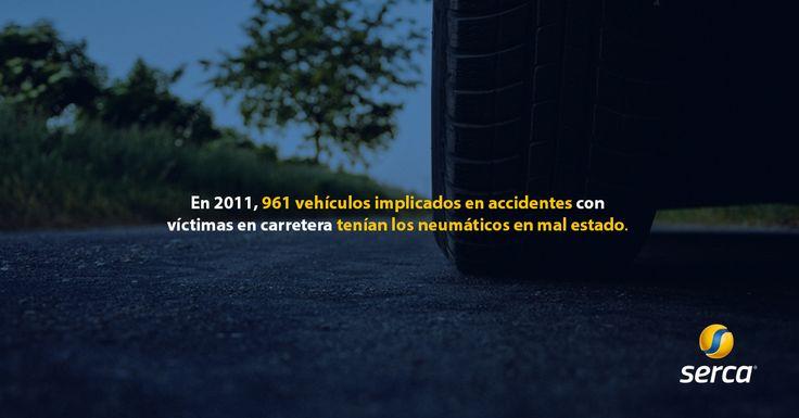 En 2011, 961 #vehículos implicados en accidentes de coches tenían los neumáticos en mal estado. http://www.serca.es/ #coches #recambiosdecoches #estadísticas