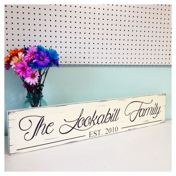 Distressed Family Established Sign by TheBatteredBoard on Etsy