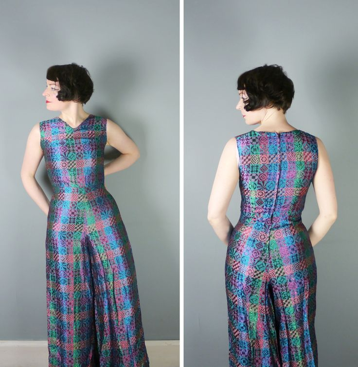 70s METALLIC jumpsuit in vivid BROCADE pattern - fitted bodice and wide leg - 1970s psychedelic glam rock all in one catsuit by Mark One - S by SartorialMatters on Etsy https://www.etsy.com/uk/listing/533212507/70s-metallic-jumpsuit-in-vivid-brocade