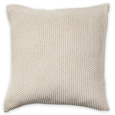 Lovely simple knitted cushion :) two colours, but I prefer the Birch so I could change my colour theme.  50x50cm Moss Stitch cushion Birch