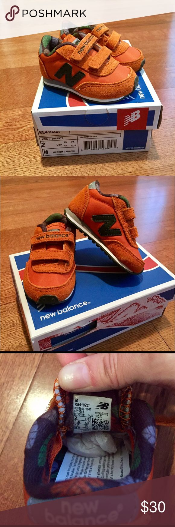"Child New Balance shoes NWT!! Size 2 kids/infant New Balance tennis shoes with velcro straps. Burnt orange color with gray accent and Navy blue ""N"". Accidentally ordered wrong size and waited too long to return 😝 smoke free, pet free home. New Balance Shoes"