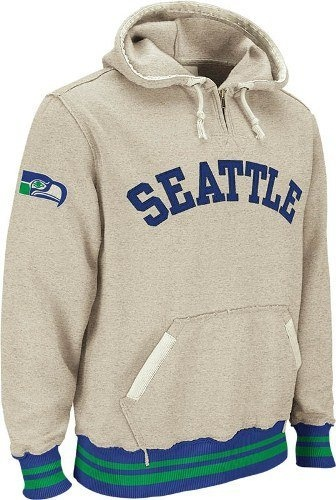 ... Seattle Seahawks Reebok Vintage Ash 14 Zip Throwback Hooded Sweatshirt  by Reebok daa784a98