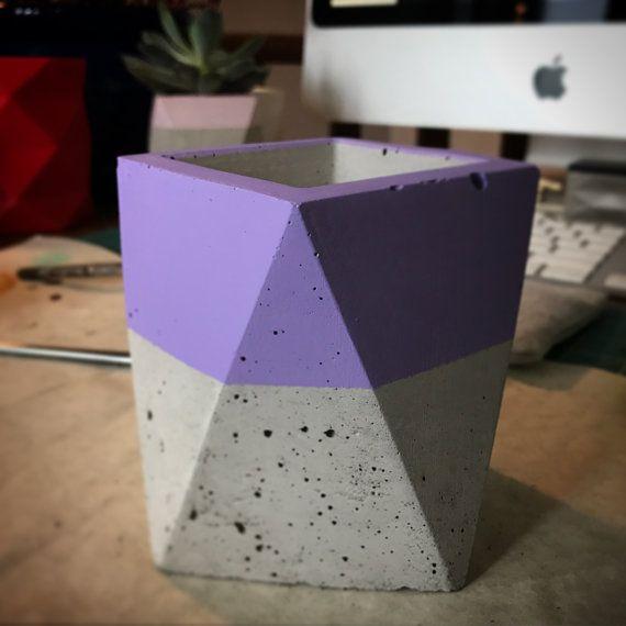 Hand Painted Geometric Concrete Planter Choose от KazoidConcrete