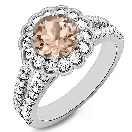 Jewelry Point - Round Peach Pink Morganite Diamond Halo Split Engagement Ring, $1,590.00 (http://www.jewelrypoint.com/round-peach-pink-morganite-diamond-halo-split-engagement-ring/)