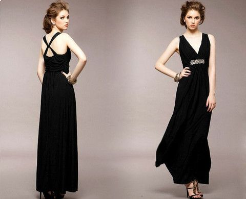 Sexy V-neck evening dress, sexy cross back None lined, high stretch