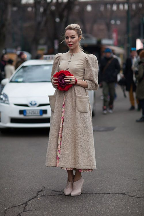 In Russia this is probably cool.   Street Style Fall 2013 - Milan Fashion Week Street Style - Harper's BAZAAR