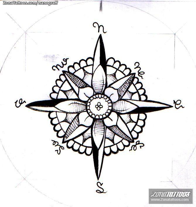 Diseño de NanoGraff Rosa de los vientos En ZonaTattoos, tu web de tatuajes