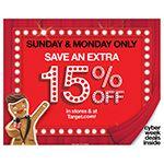 Target anuncia los dos días de ofertas espectaculares Cyber-Stores Spectacular: 15 por ciento de descuento en línea y en las tiendas
