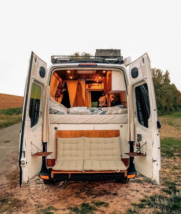 Couple S Van Life With A Tailgate Loveseat On Their Diy Vw Crafter