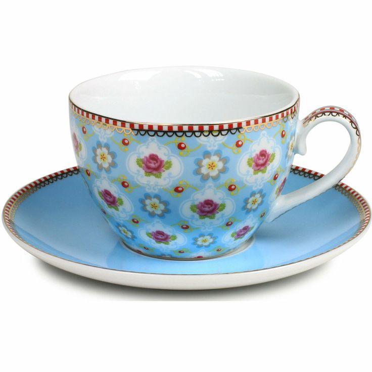 Kopp med fat Blossom Blue