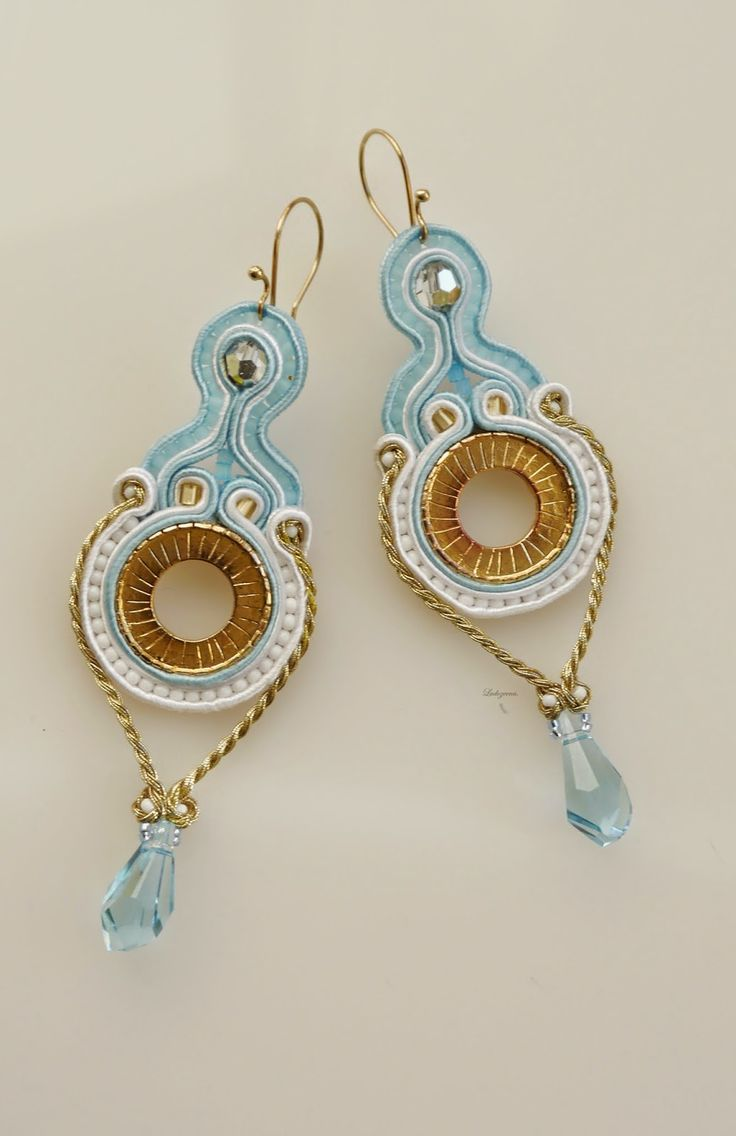 #soutache #earrings #baby blue #fashion #gold #swarovski #www.ludozerna.com