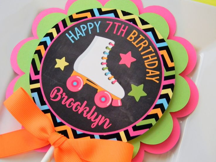 Neon Roller Skate Cake Topper, Neon Rollerskate Party, Neon Skate Party, Party Topper, Roller Skate Cake Topper, Roller Skating Party Decor by sweetheartpartyshop on Etsy https://www.etsy.com/listing/567161697/neon-roller-skate-cake-topper-neon