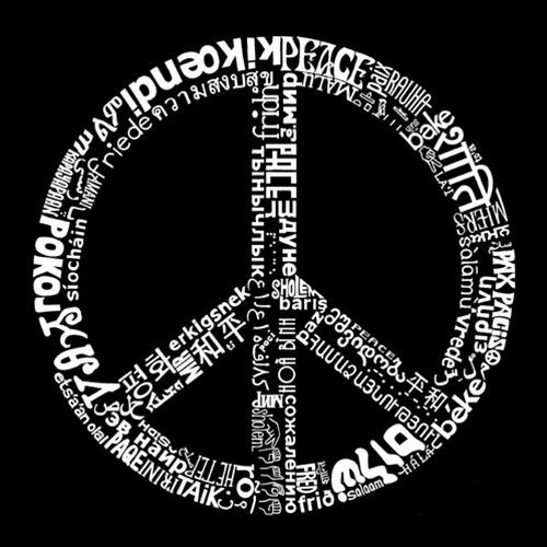 Men's Long Sleeve T-shirt - The Word Peace in 77 Languages ; Created using the word PEACE in 77 different languages