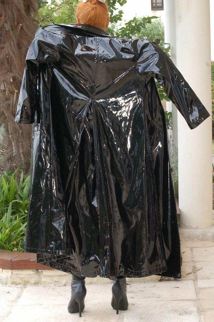 Long Shiny Black Pvc Coat Tenue Vinyle Et Vetements