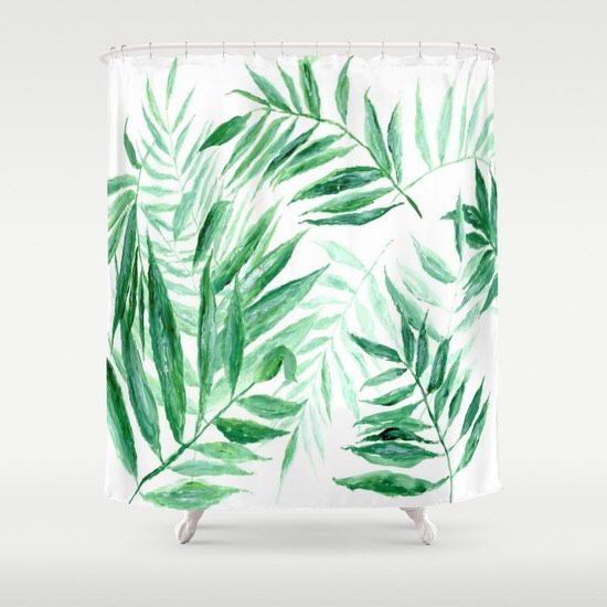 Palm Leaf Shower Curtain tropical curtain palm leaf curtain