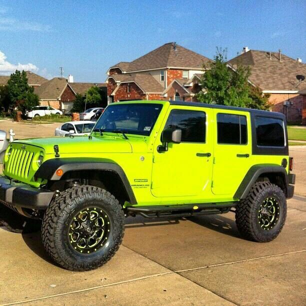 lime green jeep - 612×612