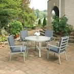 Home Styles South Beach Grey 5-Piece Round Extruded Aluminum Outdoor Dining Set with Gray Cushions