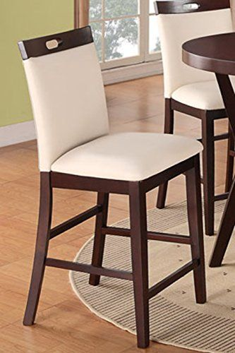 Bar stools counter height set of 2 cream leather parson - Amazon bedroom chairs and stools ...