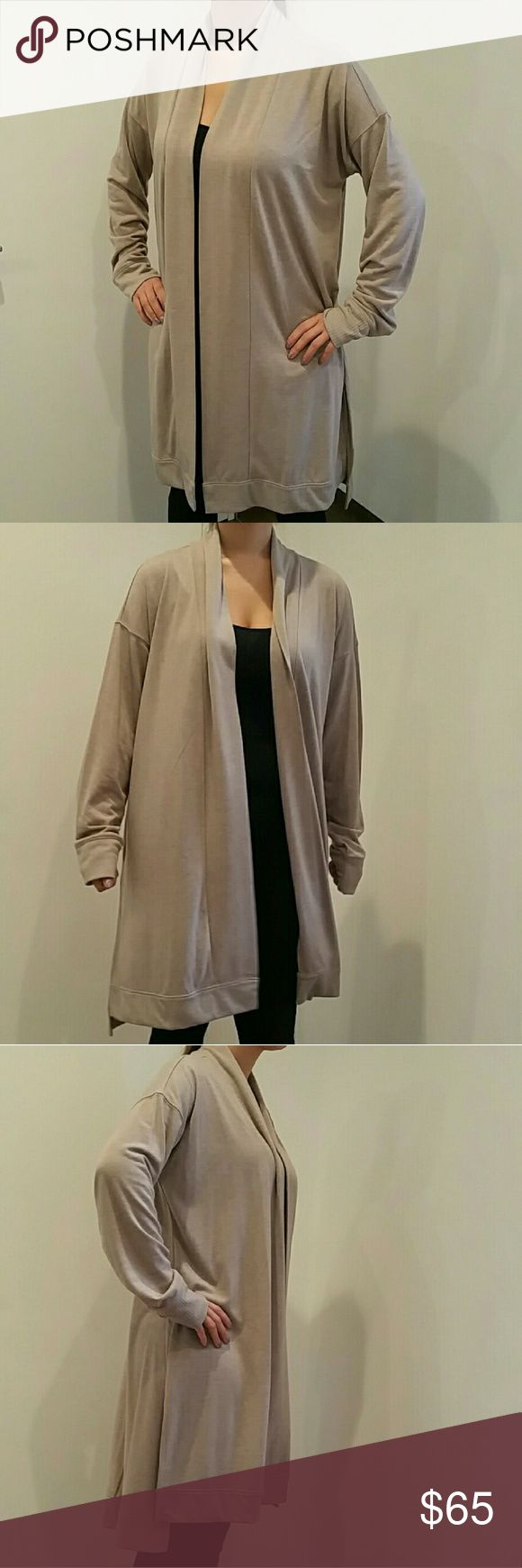 Anne Taylor LOFT Duster Anne Taylor LOFT Duster Size XL Color: Oatmeal  Long length. Shorter in front. Beautiful drape.  Longsleeve. Ribbed cuffs. Ann Taylor Jackets & Coats