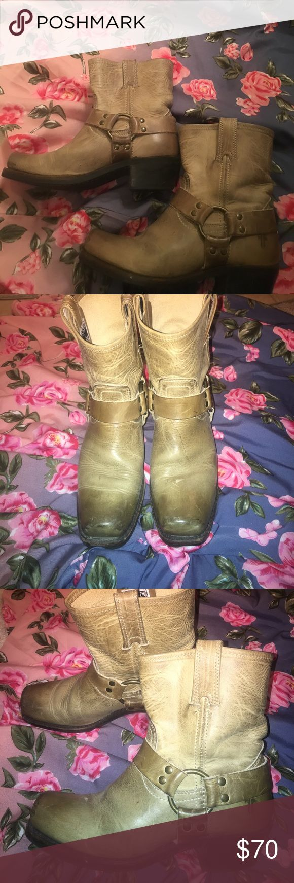 Frye beige boots These were worn a handful of times but still in great condition. Added a pic of soles to show there is minimal wear. Frye Shoes Heeled Boots