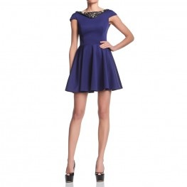 High waist dress with petal skirt, jewels ornaments on the neckline. http://shop.mangano.com/en/dresses/16359-abito-lority-bluette-ricamo.html  #dress #apparel #clothing #woman #blue #mangano