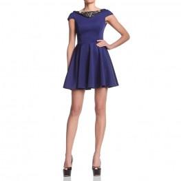 High waist dress with petal skirt, jewels ornaments on the neckline. http://shop.mangano.com/en/dresses/16359-abito-lority-bluette-ricamo.html  #dress #apparel #clothing #woman #blue #mangano