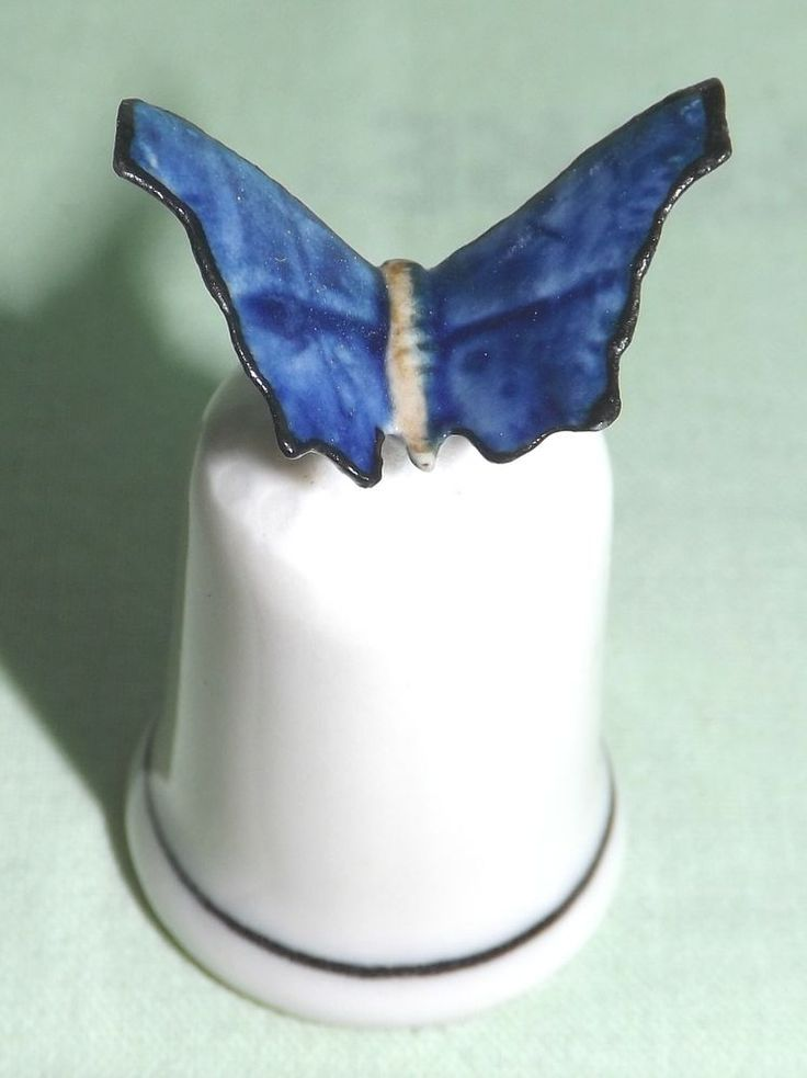 Klima Porcelain Blue Butterfly on Thimble K409