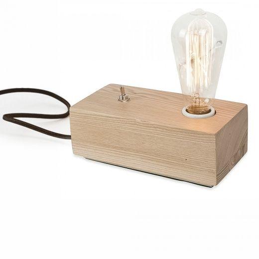 Lampe de Chevet Edison Bloc de Bois de style Vintage | Cult Furniture