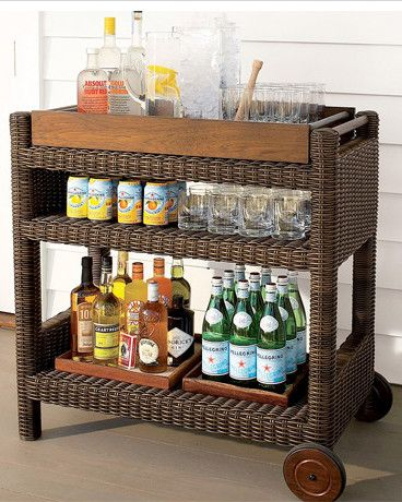 Outdoor wicker bar cart i need this for my patio love for Club piscine outdoor furniture